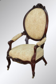 SOLD Antique Victorian Carved Basket Crest Arm Chair