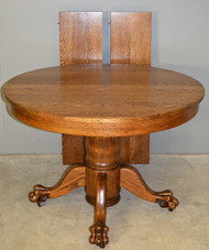 "17282 Victorian Oak Claw Foot Dining Table 42"" Fully Refinished"