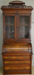 SOLD Victorian Burl Walnut Carved Cylinder Secretary