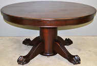 17809 Round Large Mahogany Banquet Table Ball & Claw Base – Opens 10 Feet
