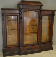 SOLD Victorian Triple Door Burl Walnut Bookcase