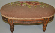 SOLD Oval French Needlepoint Footstool – FREE SHIPPING