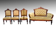 SOLD Antique Four Piece Victorian Burl Walnut Parlor Suite