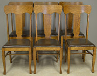 17659 Set of 6 Oak Dining Chairs – Refinished