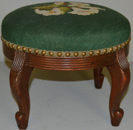 SOLD Round Needlepoint Footstool – FREE SHIPPING