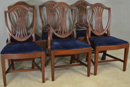 17837 Set of 6 Mahogany Shield Back Dining Chairs