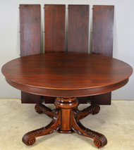 17827 Round Victorian Mahogany Carved Banquet Dining Table
