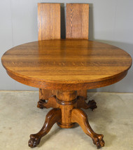 17842 Victorian Oak Claw Foot Dining Table Refinished