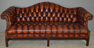 SOLD Leather Tufted Chippendale Camel Back Sofa
