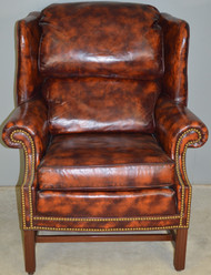 SOLD Leather Chippendale Wingback Chair by North Hickory