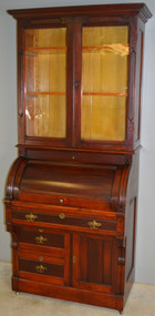 SOLD Victorian Cylinder Bookcase Secretary Desk