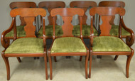 17795 Set of 7 Mahogany Empire Style Dining Chairs