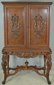 17811 Carved Walnut Bar Cabinet