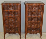 17861 Pair of Walnut Carved Five Drawer Marble Top Bedside Stands – Outstanding