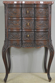 SOLD Carved Unusual Walnut Marble Top Ladies Chest