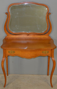 SOLD Oak Victorian Bevel Mirror Ladies Vanity with Inlay – Rare