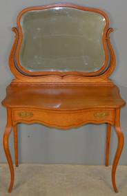 17874 Oak Victorian Bevel Mirror Ladies Vanity with Inlay – Rare