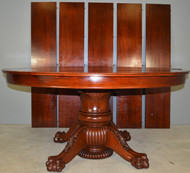 17877 Mahogany Round 60 Inch Banquet Dining Table – 5 Leaves – 10 Feet long!!