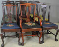 17878 Set of 9 Victorian Chippendale Ball & Claw Mahogany Dining Chairs