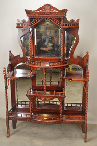 SOLD Extraordinary Carved Eastlake Cherry Etagere