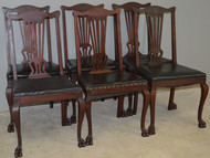 17236 Set of 6 Victorian Claw Foot Mahogany Formal Dining Chairs