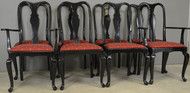 17475 Set of 8 Black Lacquer Chippendale Dining Chairs – Twin Arms