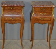 SOLD Pair of French Marble Top with Brass ormolu Trim Nightstands - Inlay