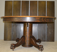17856 Victorian Oak Split Base Banquet Table Claw Foot 54 Inch Opens 10 Feet