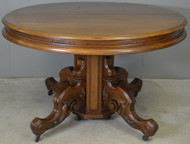 SOLD Victorian Round Walnut Banquet Dining Table Open 127 Inches