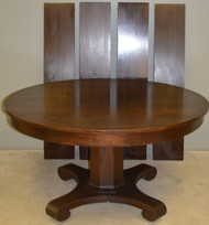 SOLD Mahogany Empire 54 Inch Round Dining Table with 4 Factory Leaves in Crate