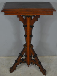 17871 Victorian Incise Carved Walnut Plant Stand Lamp Table