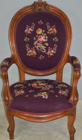 17881 Victorian Needlepoint Arm Chair
