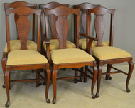 17356 Set of 6 Oak Formal Queen Anne Dining Chairs