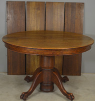 SOLD Round Oak Claw Foot Victorian Banquet Table w/4 Leaves – Opens 100 Inches