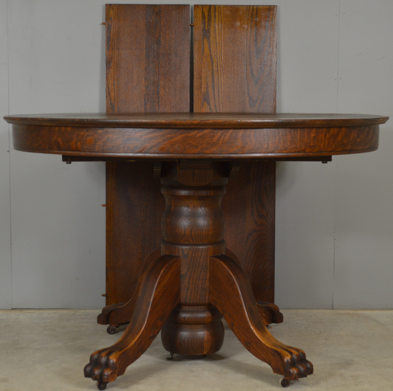 Sold Victorian Round Oak Claw Foot Banquet Dining Table Maine Antique Furniture