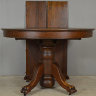 17867 Victorian Round Oak Claw Foot Banquet Dining Table