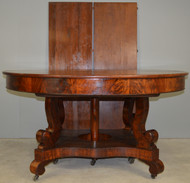 SOLD Mahogany Period Empire Split Pedestal Banquet Table – Opens 12.5 Feet Long