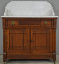 SOLD Victorian Eastlake Marble Top Commode / Wash Stand