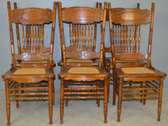 17896 Set of 6 Refinished #1 Larkin Press Back Dining Chairs