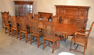 19800 Heavily Carved 16 Piece Oak Dining Set by Berkey & Gay
