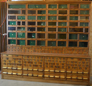 19862 Large Commercial Oak Store Cabinet – 206 Drawers!!