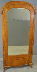SOLD Victorian Birds Eye Maple Bevel Mirror Wardrobe