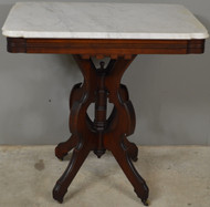 17770 Victorian Walnut Marble Top Parlor Stand