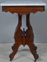 17784 Victorian Walnut Marble Top Parlor Stand