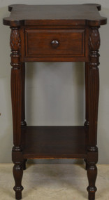 SOLD Mahogany Sheraton Cookie Corner Carved Nightstand