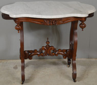 SOLD Victorian Carved with Floral Baskets Marble Top Parlor Stand