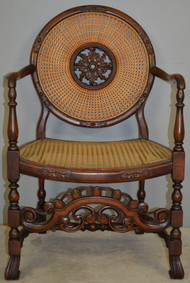 SOLD Carved Unusual Walnut Decorator Chair