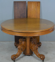 17919 Victorian Round Walnut Banquet Table – Opens over 10 Feet