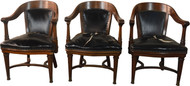 SOLD Set of 3 Matching Mahogany & Leather Office Chairs by Derby