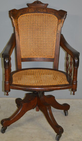 17921 Victorian Burl Walnut Swivel Tilt Office Chair